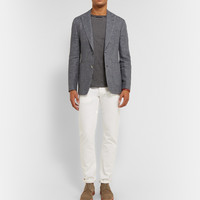 Hardy Amies - Navy Prince Of Wales Check Linen and Wool-Blend Blazer   MR PORTER
