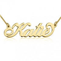 Name Necklace Carrie Font Style 24k GP