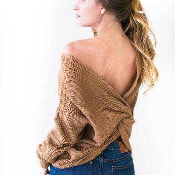 Twisted Around My Little Finger Open Back Sweater