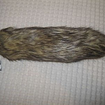 "BROWN BEIGE BLACK STREAKS FUR FOX TAIL FOXTAIL KEYCHAIN 12"" CLIP-BRAND NEW!"