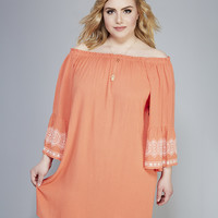 Embroidered Bell Sleeve Hippie Dress | Wet Seal+