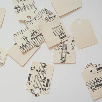 sheet music gift tag vintage musical notes gift label card birthday wrapping ephemera card making paper diy garland craft lasoffittadiste