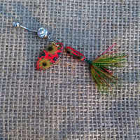 Funky Red and Green Lava Crackle Fishing Lure Navel Belly Button Ring For Country Fishing Girl