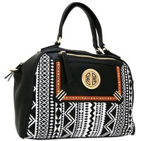 Trendy Aztec Print Handbag Purse w/ Detachable Shoulder Strap (Black)