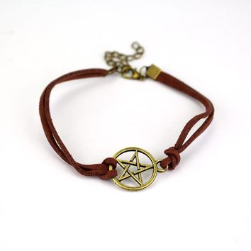 Supernatural Pentagram Star Charm Adjustable Imilation Leather Bracelets for Men & Women Punk Style Wristband Jewelry
