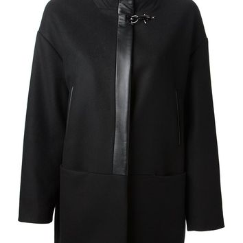 Fay leather trimmed coat