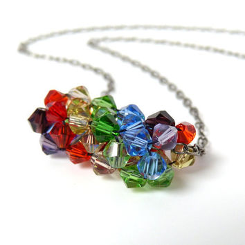 Rainbow Beaded Swarovski Crystal Bicone Necklace in Red, Yellow, Green, Blue and Purple Tones