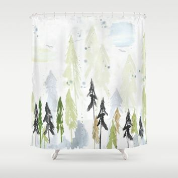Into the woods woodland scene Shower Curtain by Jennifer Rizzo Design Company