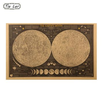 TIE LER Large Vintage Retro Paper Earth Moon World Map Poster Wall Chart Home Decoration Wall Sticker