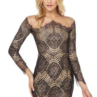Black Nude Lllusion Delicate Lace Dress