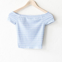 Striped Off Shoulder Crop Top - Dusty Blue