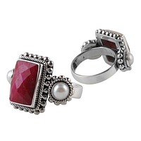 "SR-8233-CO1-4.5"" Sterling Silver Ring With Ruby, Pearl"
