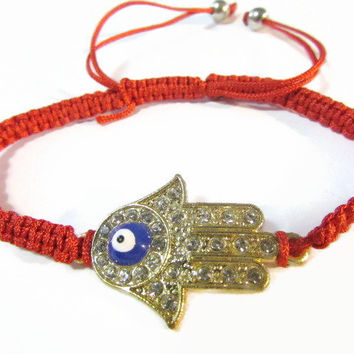 "Hamsa Hand evil eye red macrame bracelet Amulet Kabbalah fatima hand ""protect against evil eye"""