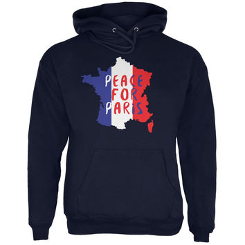 Peace for Paris France Words Navy Adult Hoodie