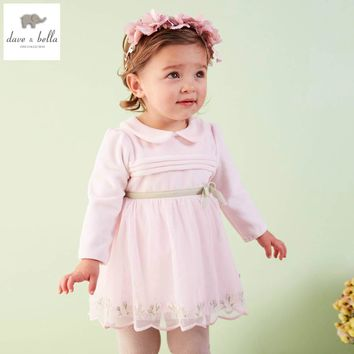DB4035 davebella spring baby girl vintage style princess dress baby retro dress kids birthday clothes girls pink dress