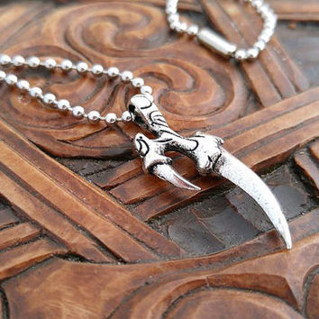 Men's Pagan Necklace, Pagan Jewelry, Silver Pagan Jewelry, Talon Necklace, Silver Talon