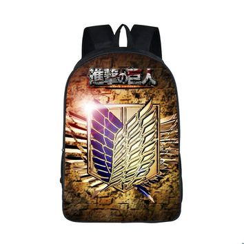 Cool Attack on Titan Anime  Backpack Young Men Women Ddaily Backpack Mikasa Ackerman Eren Jaeger School Bags For Teen School Backpacks AT_90_11