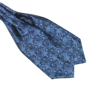 Men's Navy Blue Paisley Gentleman Collection Ascot/Cravat Tie