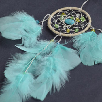 Rear View Car Mirror Charm, Mini Aqua Dream catcher, Car Decor, Native American Dream catcher, Feather Decor.