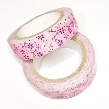 Light pink floral 15mm fabric washi tape / 3.5M