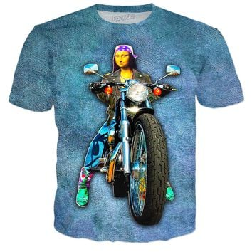 Mona Lisa Motorcycle On Canvas T-Shirt