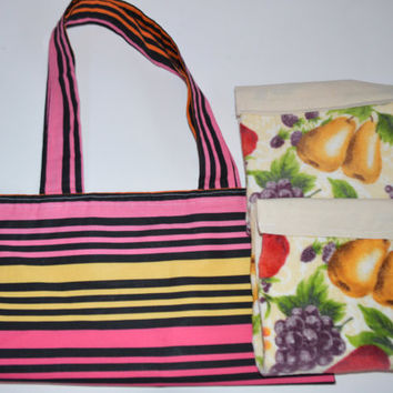 Towel Tote Set, Fruit Towels, Fabric Tote, Towel Gift Set, Stripe Bag, Gift for Her, Kitchen Decor, School Bag, Hand Towel, Market Bag
