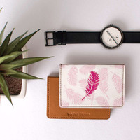 DailyObjects Pink Feather Card Wallet