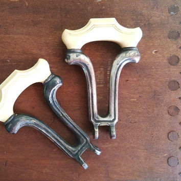 Pewter and French Ivory Draw Pull Handles