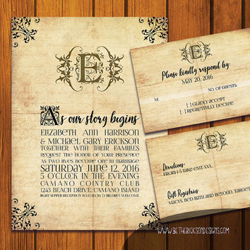 Fairytale Wedding / Vintage Wedding Suite / Old Paper Wedding Invitation / Fairy tale  / vintage / fairytale / Anniversary / Wedding