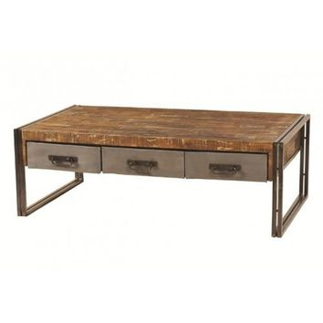 Abran Industrial Reclaimed Wood & Metal 3 Drawer Coffee Table