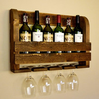 Rustic Wood Wine Rack and Wine Glass Holders