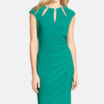 Women's Eliza J Embellished Keyhole Ruched Sheath Dress