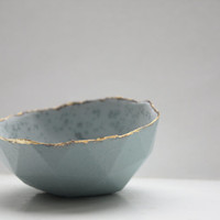 Geometric faceted polyhedron blue bowl from stoneware Parian porcelain with real gold finish mat interior and crystals -  geometric decor