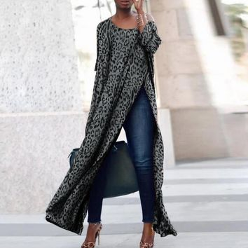 Hot style loose casual leopard print dress with seven-minute sleeves slit at the sides