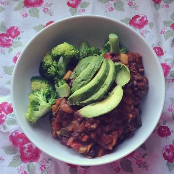 Keeping Healthy Getting Stylish — Lovely dinner of black bean chilli with steamed...