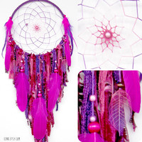 Crystal Cave Hidden in a Purple Forest Large Native Style Dreamcatcher