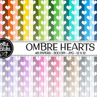 50% off SALE!! 48 Ombre Hearts Digital Paper • Rainbow Digital Paper • Commercial Use • Instant Download • #HEARTS-101-2-O