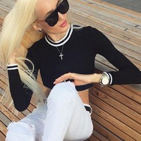 Women Crop Top Long Sleeve Stripes Shirt [11853605583]