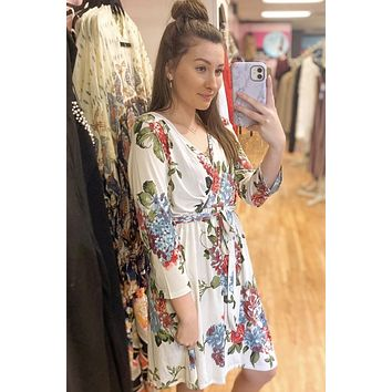 White Floral Side Tie Dress