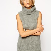 ASOS Knitted Vest In Alpaca With Roll Neck