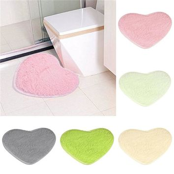 Cute Love Short Plush Hearts Shapes Carpet Area Slip-Resistant Soft Rug Cushion Door Mat Tarpet 30x40cm
