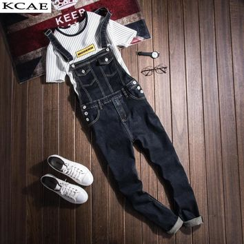 Mens Denim Bib Overalls Vinatge Coverall Long Rompers Pants Casual Fashion Sexy Men's Torn Denim Jumpsuit With Suspenders