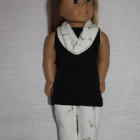 3 piece set! black  tank top, Eiffel  tower print leggings, infinity scarf , 18 inch doll clothes, American girl, Maplelea