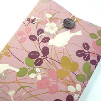 "White Birds  11"" Macbook Sleeves, Handmade In Canada, Great Gift Ideas, Japanese Kimono Cotton Fabric Pigeon Smoky Pink"