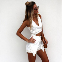 White V-Neck Cut Out Sleeveless Crop Top with Wrap Around Short
