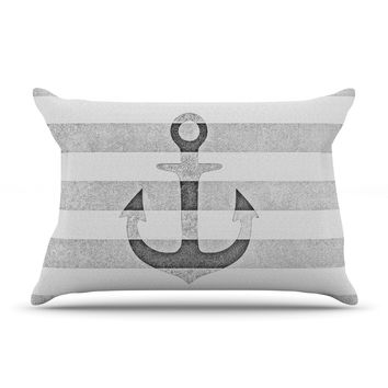 "Monika Strigel ""Stone Vintage Anchor Gray"" White Grey Pillow Case"
