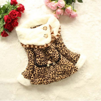 Fashion Faux Fur Coat Girls Winter Leopard Jackets Kids Warm Children's Toddler Outwear = 1931621316