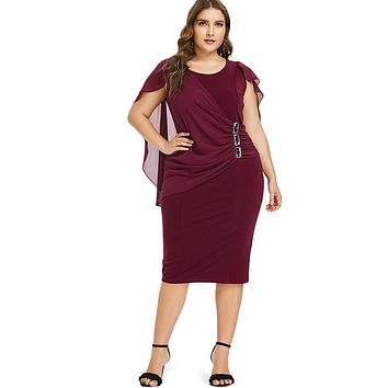 a3b66b83151201 Wipalo Plus Size Rhinestone Ruched Embellished Capelet Dress Summer O Neck  Sleeveless Women Dresses OL Party