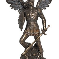 Archangel Michael from the Veronese Collection. Lightly hand-painted cold cast bronze, 9inches.