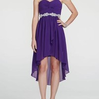 Sweetheart Twist Knot Bodice with High Low Hemline - David's Bridal- mobile